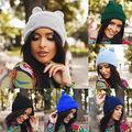 Mujeres Cuernos Del Oído de Gato Lindo Crochet Trenzado Knit Beanie Ski Lana Caliente Cap Hat