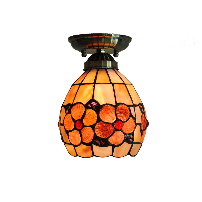 6-inch Tiffany Flower Ceiling Lamp Tiffanylamp Vintage European Stained Shell Bar Dining Room Art Decor Lighting Light New CL2816-inch Tiffany Flower Ceiling Lamp Tiffanylamp Vintage European Stained Shell Bar Dining Room Art Decor Lighting Light New CL281