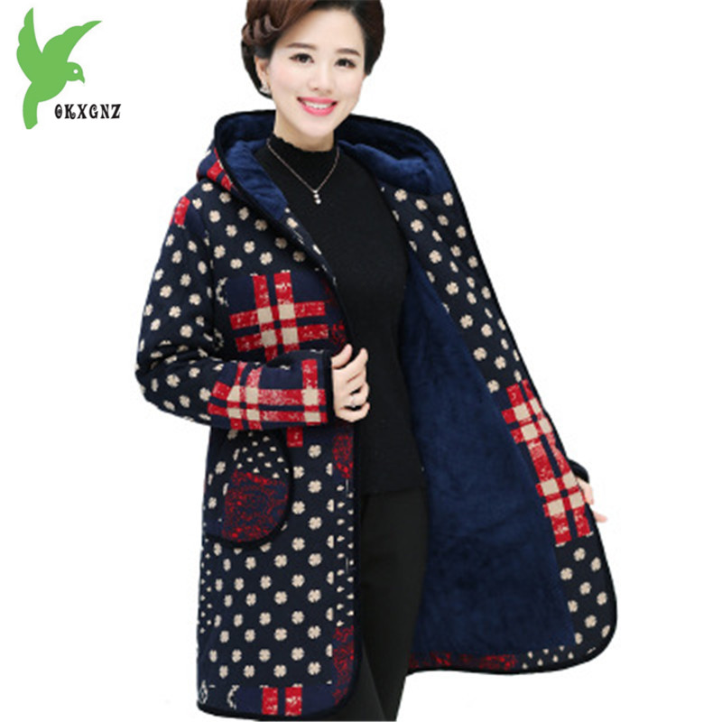 New Winter Middle aged Women Cotton Jackets Fashion Print Thick Hooded Coats Plus Size Flocking Warm Mother Clothing OKXGNZ A849 middle aged women winter cotton jackets thick warm parkas plus size mother cotton coats hooded fur collar outerwear okxgnz a1238