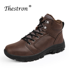 Thestron Fashion Working Boots Men Casual Pu Leather Shoes Winter Warm Army Tactical Snow Fur