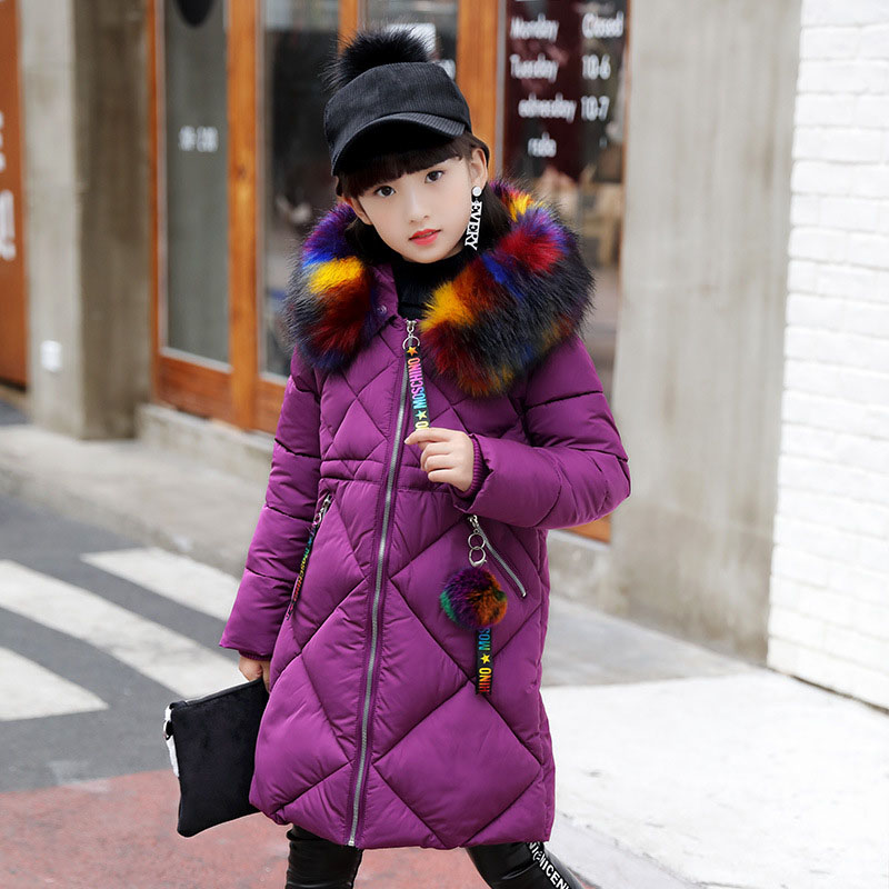 2018 Girls Winter Parka Coat Fur Collar Kids Warm Cotton Padded Coat For Girls Snow Wear Hooded Thick Jacket Outerwear Clothes girls winter coat 30 degree snow wear children parka coat hooded fur collar velvet clothes kids thick warm jackets for girls