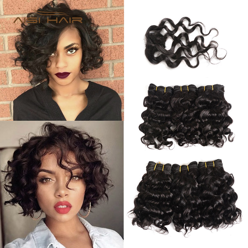 AISI Brazilian Curly Human Hair Bundles With Closure Non Remy Hair Weaving Short Human Hair Extensions 1B# Black Color 8 inches