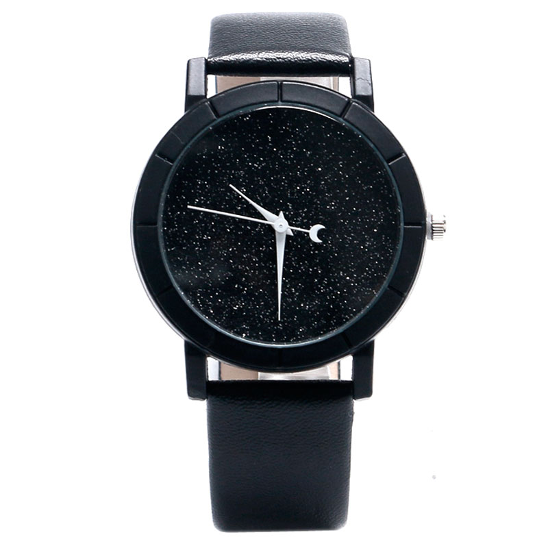 Unique Simple Leather Band Strap Ladies Blooming Glitter Dial Wrist Watch Women Moon Analog