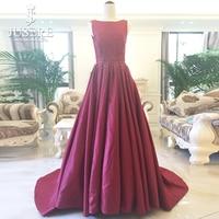 Tank Jewel Neckline Open Low Back Satin Sleeveless Beads Box Pletas Chapel Train Gown Haute Couture
