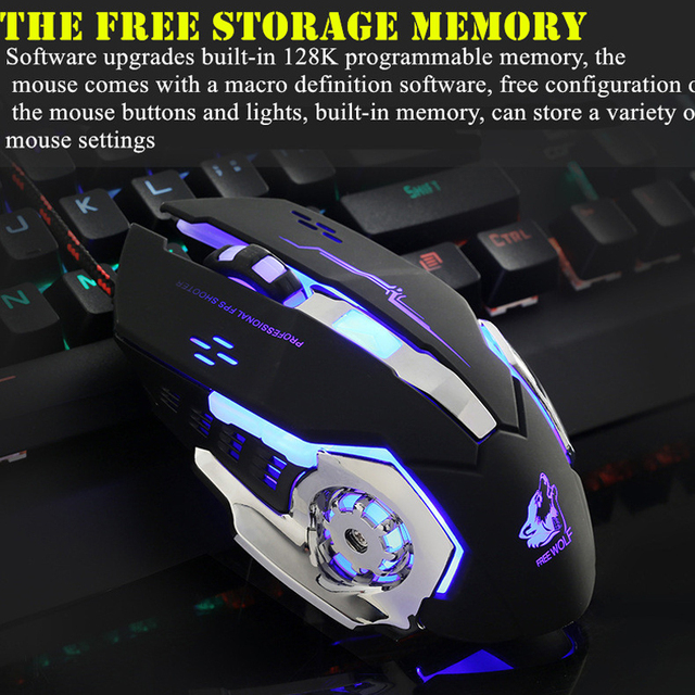 Ratón para juegos por cable profesional, 6 botones, 4000 DPI, ratón óptico USB con LED, juego inalámbrico, silencioso para PC y portátil 3