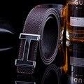 Famosa Marca PU de LA Pretina de La hebilla de correa lisa de la correa de cuero de moda casual de los hombres de tendencia de los hombres cinturones de alta calidad