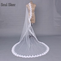 Beautiful 3M White Ivory Cathedral Wedding Veils with Comb Long Lace Edge Bridal Veil Wedding Accessories Bride Wedding Veil