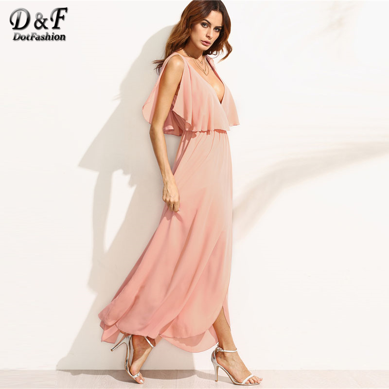 Aliexpress.com   Buy Dotfashion Plunge V Neckline Frill Blouson Full Length  Dress Women Deep V Neck Split Sleeve beach Long dress 2018 Summer Dress  from ... e281d54e3