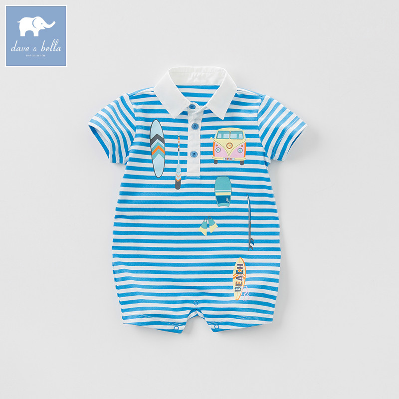 Dave bella new born baby boy romper toddler summer clothing infant short sleeve striped clothes kids jumpsuit DBF7057 db7191 dave bella summer baby girls newborn infant toddler jumpsuits children short sleeve printing clothing baby romper