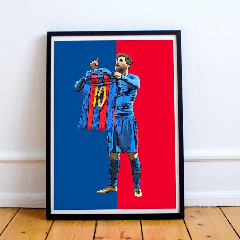Lionel messi impressão em tela de futebol arte messi jérsei cartaz, messi camisa número pintura em tela quadros parede decoração do quarto casa