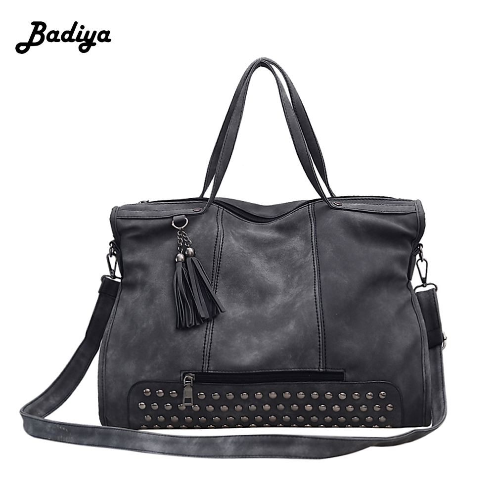 European Trendy Vintage Rivet Women Handbag Large Capacity Totes Tassel Ladies Shoulder Bag Chic Female Bolsa vvmi 2016 new women handbag brand design rivet suede tassel bag chic classic vintage saddle bag single shoulder bag for female