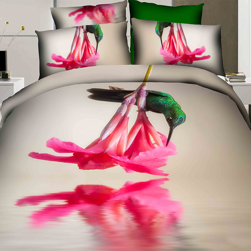 Hummingbird Bed Linen Part - 44: 6 PIECES PER SET Beautiful Green Hummingbird 3D Bedding Sets