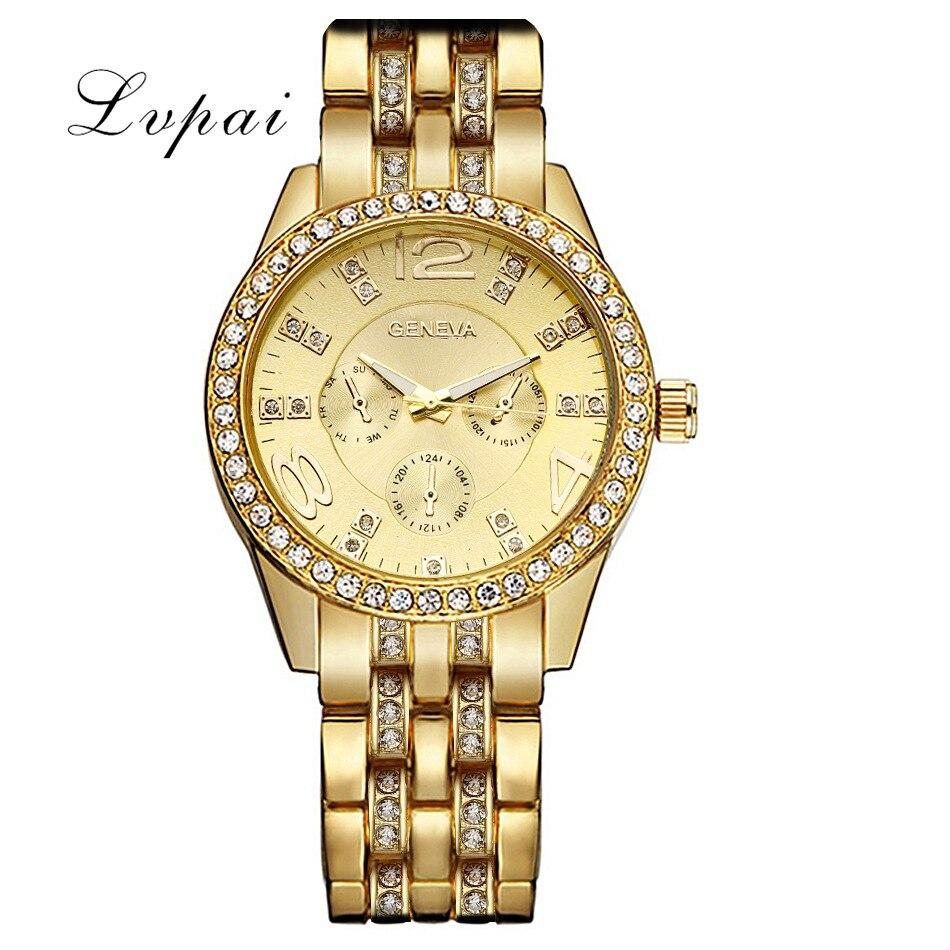 Lvpai Brand Sport Watches Women Luxury Gold Steel Fashion Dress Wristwatch Silve