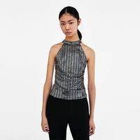 Summer Fashion 2018 Womens Vest Tank Sequined Black Halter Open Back Slim Sexy Metal Mujer Femme