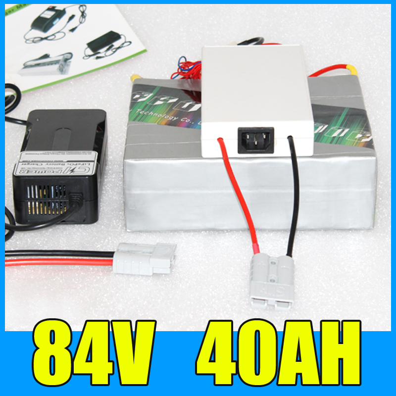 84V 40AH Lithium Battery Pack , 92.4V 4000W Electric bicycle Scooter solar energy Battery , Free BMS Charger Shipping free shipping 48v 18ah lithium battery electric bicycle scooter 48v 1000w battery lithium ion ebike battery pack akku with bms