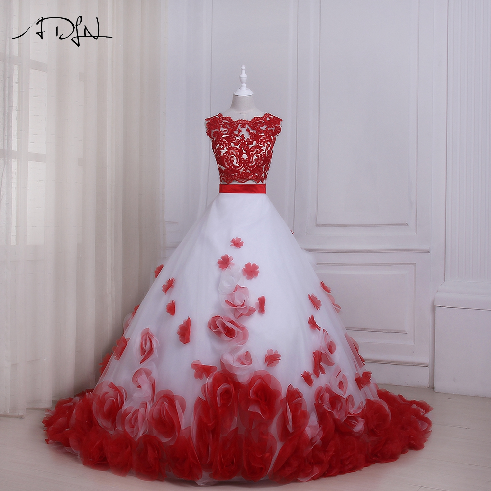 95701d6edd ADLN White and Red Wedding Dresses Sexy Two Pieces Sleeveless Floor Length  Flowers Bridal Gowns Vestido
