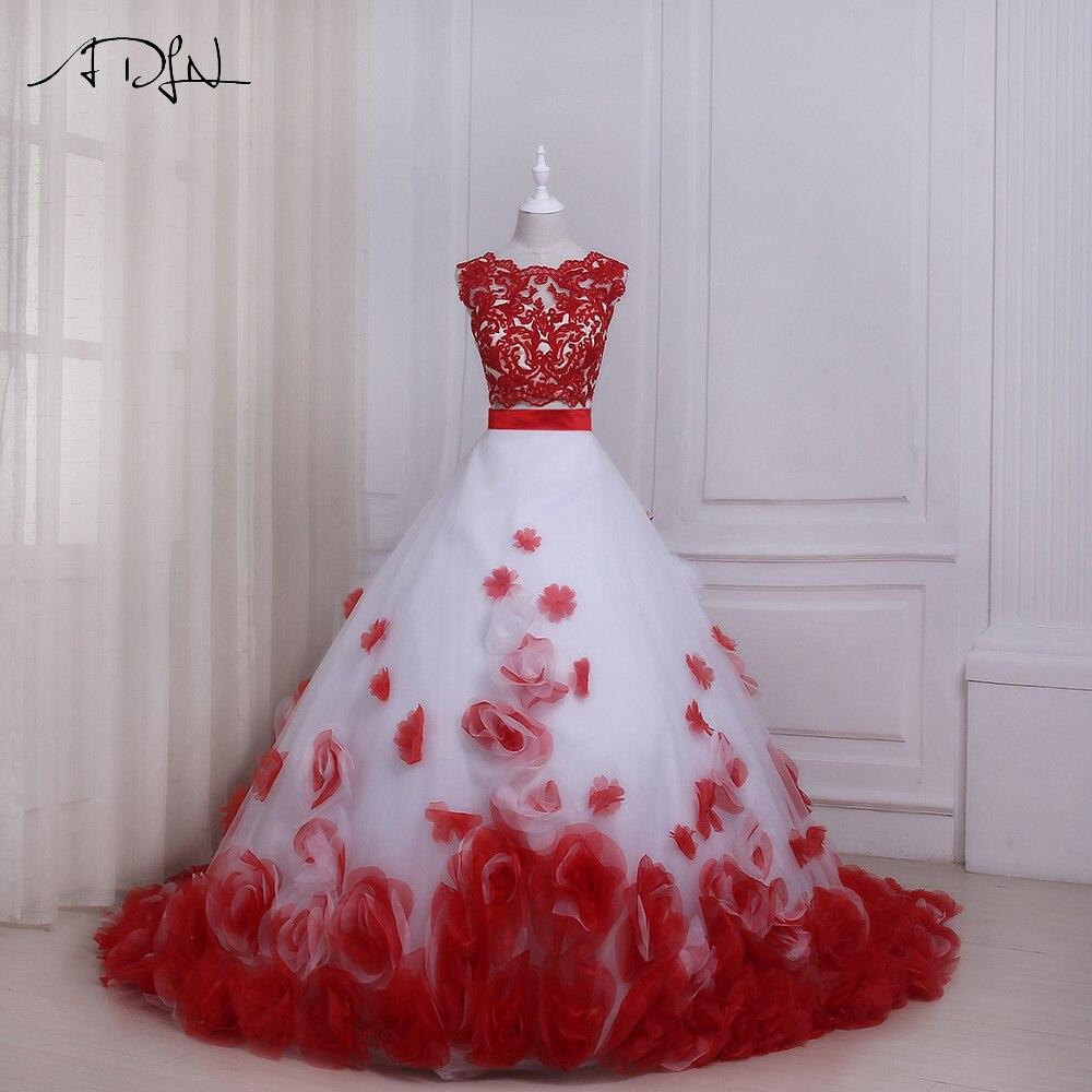 ADLN Blanc et Rouge De Mariage Robes Sexy Deux Pièces Sans Manches Étage Longueur Fleurs Robes De Mariée Robe De Noiva Designer