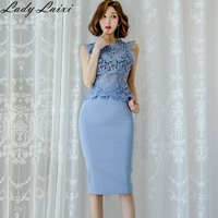 Women's 2 Pieces Suits Solid Color O neck sleeveless hollow out Lace Top +Sheath Bodycon Pencil Skirt Office Set Summer