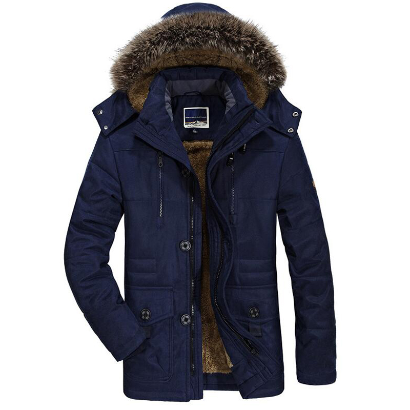 Brand Winter Parka Men Jacket Hooded Fur Collar Thick Warm Winter Jacket Men Wool Liner Windbreaker Parka Men Plus Size L-7XL(China)