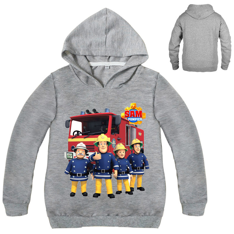Kids Clothes Fireman Sam Boys Girls T-shirts Long Sleeve Hoodies Tshirt Girl Boys Clothing Coat
