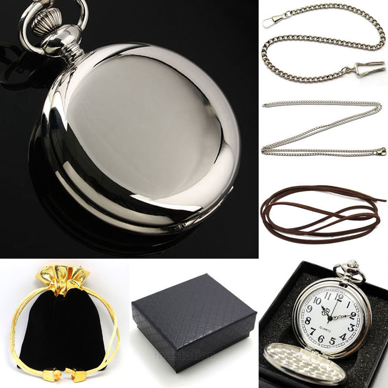 Black Smooth Bronze Steampunk Pocket Watch for Men with pocket chain necklace chain with leather strap wish gift bag gift box vintage watch steampunk men skeleton mechanical fob pocket watch clock pendant hand winding men women chain with gift box