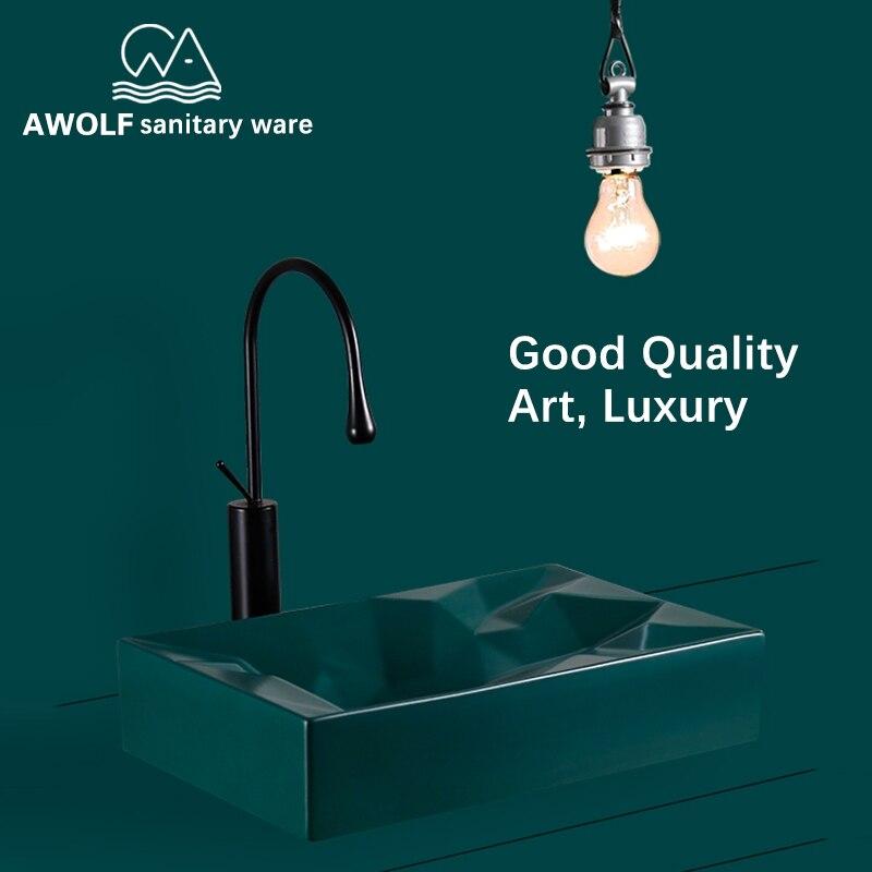 Bathroom Sinks Art Basin Ceramic Vessel Sink Above Counter Green Black white Diamond Geometry Shapes With