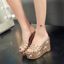 Hot Sale Shoes Women Summer Fashion Bling Rivet Wedge Female Thick Bottom Sandals Slippers High-heeled Casual Non-slip Shoes цена в Москве и Питере