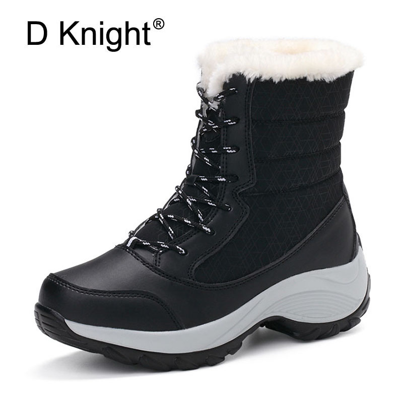 D Knight Women Fashion Snow Boots Women Casual Ankle Boots with Short Plush Keep Warm Winter Walking Boots Shoes Woman Size 4-10
