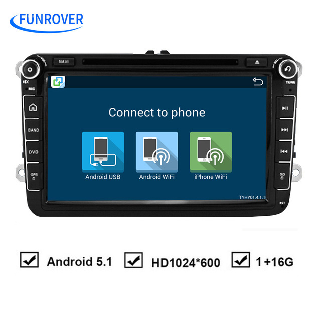 Funrover Android 2Din Dvd-плеер Автомобиля для VW Passat B6 5 Гольф mk6 5 Поло Jetta CC Tiguan RNS 510 для skodaoctavia fabia miralink