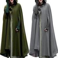 Women Trench Coat Open Front Cardigan Jacket Coat Cape Cloak Poncho Plus Cape Coat Fall Hooded Manteau Loose Jacket long Clothes