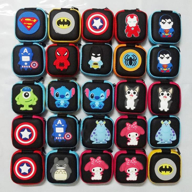 1 Pcs Cute Mini Superhero Spiderman Captain America Bat Stitch Melody Square Coin Purse Earphone Bags Stationery Card Holders