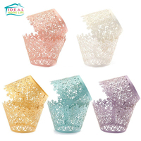 50pcs High-quality wedding birthday party Creative cake cups laser hollow flower lace paper cake decorative baking paper holder