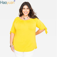 HAOYUAN 5XL 6XL Plus Size Sexy Womens Tops And Blouses Off The Shoulder Woman Shirt 2017 Summer Casual Yellow Blouse large sizes
