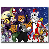 Kingdom Hearts 1 2 3 Art Silk Fabric Poster Print 13x20 24x36inch Hot Game Pictures for Children Room Wall Decoration Gift 023