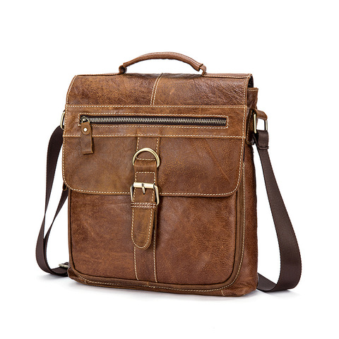 Designer Brand Messenger Bags Vintage Genuine Leather Bags For Men Business Office Handbags Casual Cow Leather Shoulder Bags Lahore