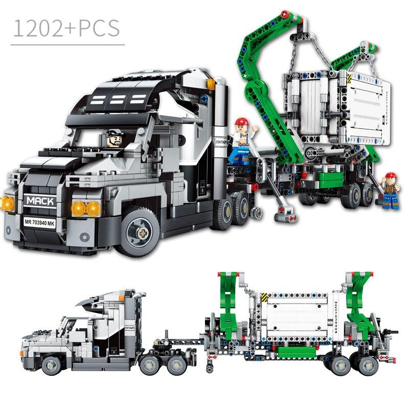 1202 pièces conteneur camion blocs véhicules voiture blocs de Construction technique voiture briques à monter soi-même éducatifs Construction jouets pour enfants