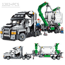 1202PCS Container Truck Vehicles Car Building Blocks Compatible legoingly Technic Car DIY Bricks Educational Toys for Children(China)