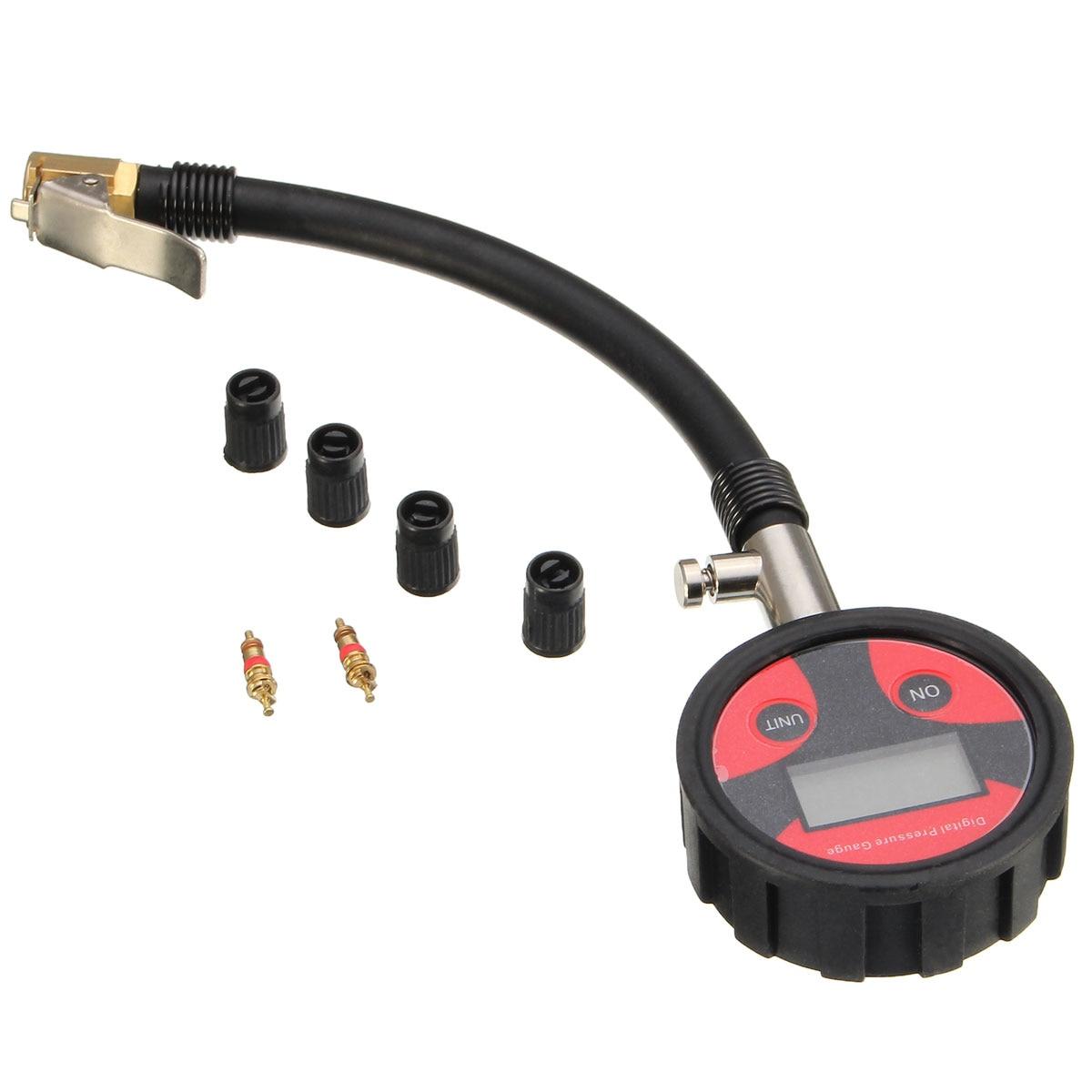 все цены на New 0-200PSI Metal Digital Tire LCD Manometer Air Pressure Gauge PSI BAR KPA