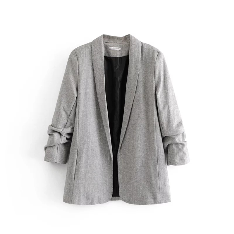 Women Autumn Casual Shawl Collar No Buckle Gray Blazer Coat Roll Sleeve Office Lady Business Elegant Blazers Jacket Chaqueta