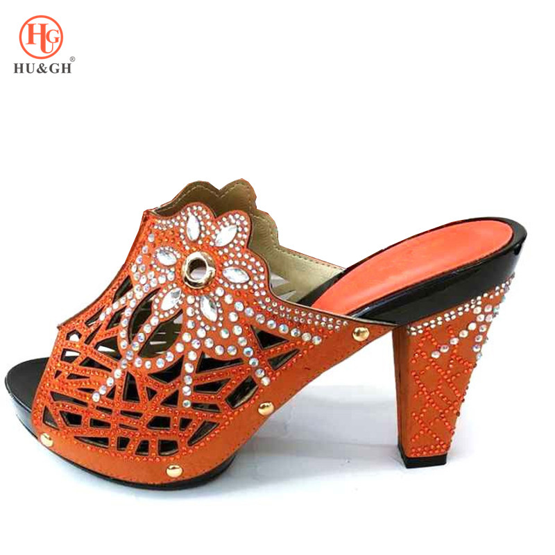 New Orange Wedding African High Heels Sandals Set Novelty Italian Shoes Nigerian Shoes Possible With Evening