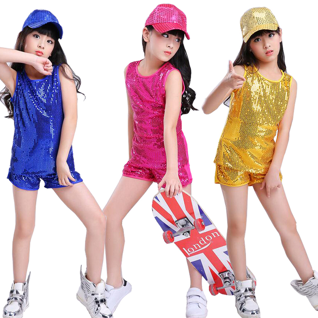 c9420ae06ade8 US $14.39 20% OFF Kids Sequined Modern Jazz Clothing Set Boys Girls Hip Hop  Performance Clothing Short Pants Jazz Dance wear Costumes for Child-in ...