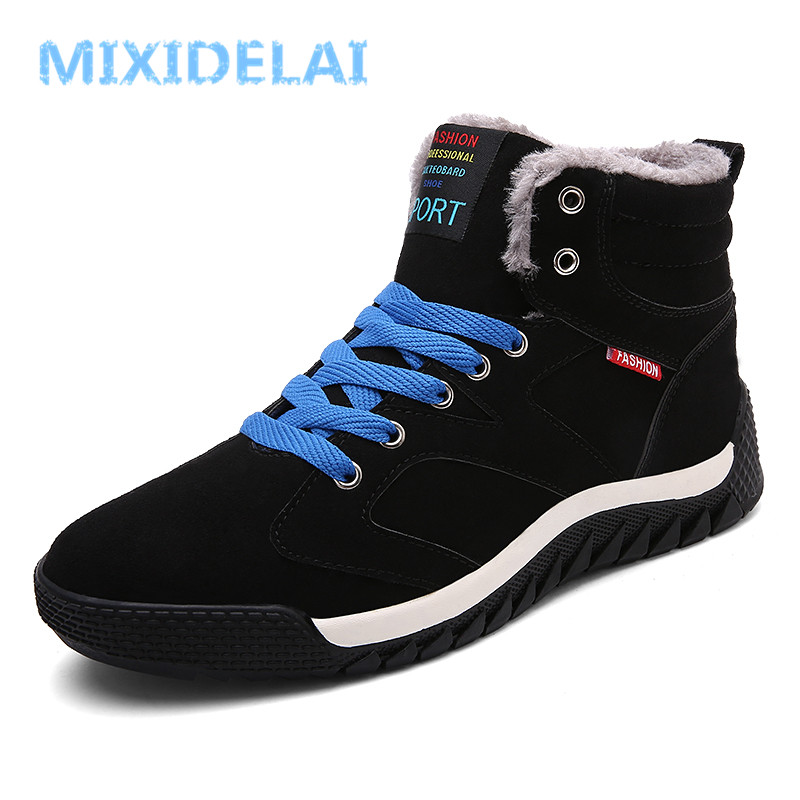 MIXIDELAI Men Boots Suede Winter Keep Warm Snow Boots Winter Boots Work Shoes Men Footwear Fashion Rubber Ankle Boots Big Size