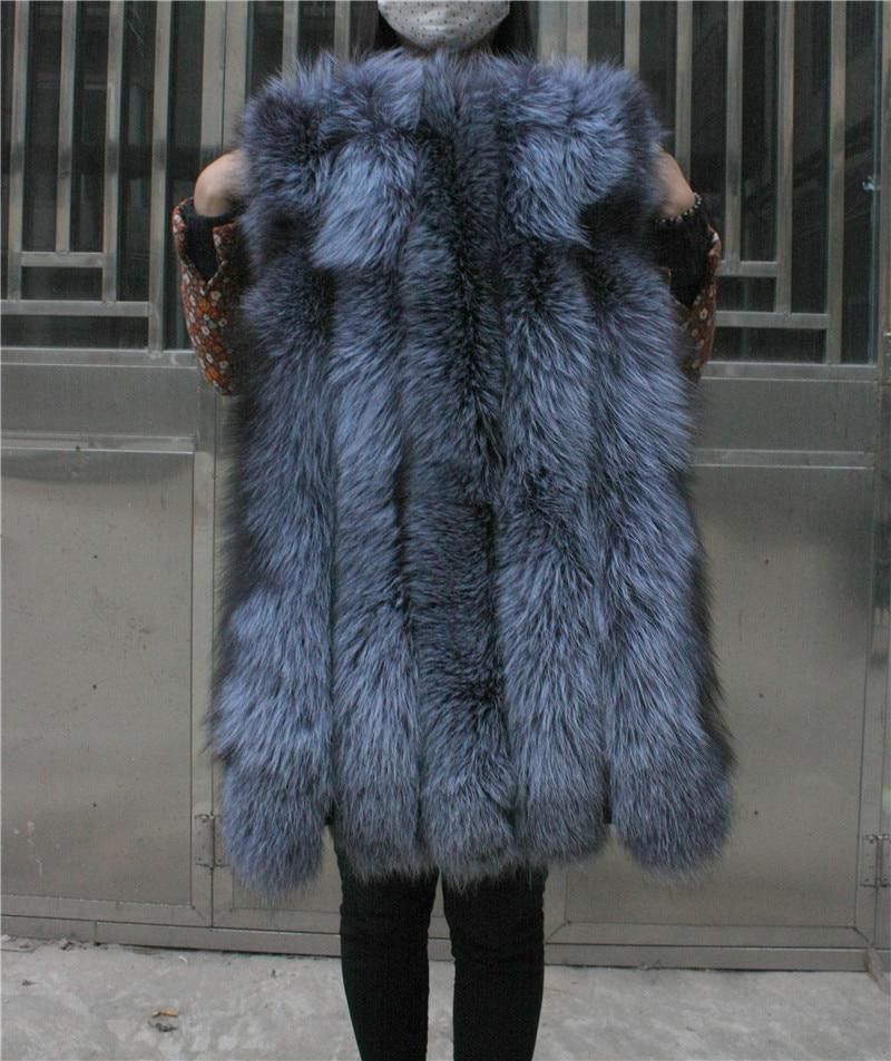 LIYAFUR Frauen 100% echte echte Full Pelt Silber Fuchspelz lange - Damenbekleidung - Foto 4