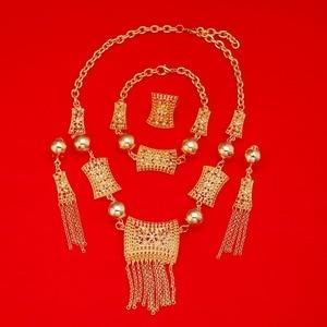 Image 3 - جديد وصول الأفريقية دبي الذهب العروس مجوهرات مجموعة 24 كيلو الذهب الاثيوبية الأوسط الفصح الهند كينيا المجوهرات مجموعة