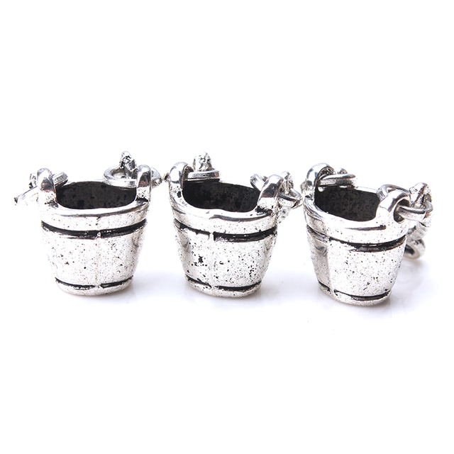 10pc/lot 24mm x 14mm bucket Charms Antique Silver Tone Fabulous with Hinged Handle for jewelry accessories findings making