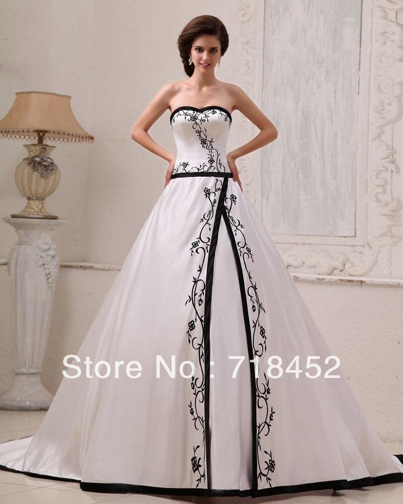 White and Black 2013 Wedding Dress Stain Princess A line Dress Up ...