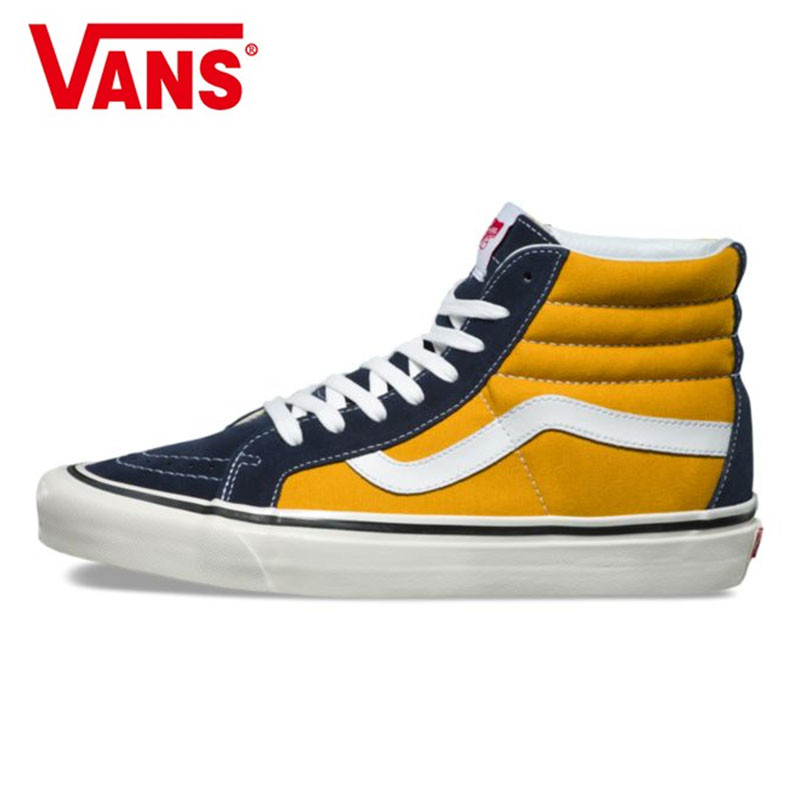 1ceb1cb2064 Vans Sk8-Hi Classic Men and Womens canvas shoes Surfing joint fashion  VN0A38GFUBT high help yellow Weight lifting shoes Eur36-44