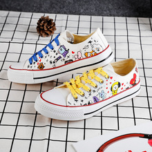 New Kpop Bangtan Boys Canvas Low Tops Shoes JUNGKOOK JIMIN V
