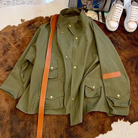 High Quality Jacket Women Army Green Jacket Women Luxury Brand Jacket with Long Sleeve Loose Jackets with Stand Collar