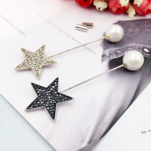 New Vintage Zircon Star Long Lapel Pins for Women Men Imitation Pearl Stick Brooches Sweater Scarf Broche Clothes Accessories